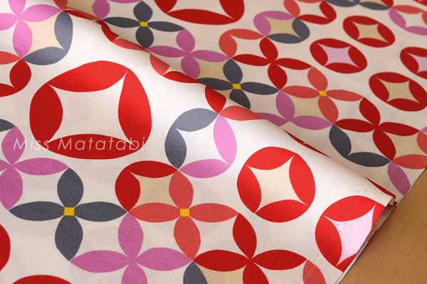 Japanese fabric morning glory cotton crepe - cream, red, pink, grey