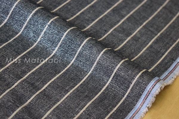 Japanese Fabric - Linen Shimmer Stripes - silver indigo blue