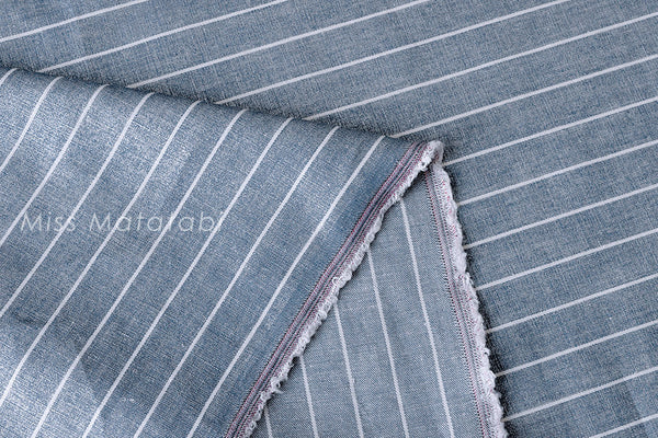 Linen Shimmer Stripes - silver blue