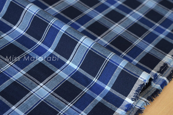 Japanese Fabric - yarn dyed plaid - navy, blue