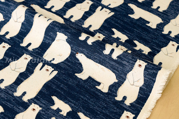 Japanese Fabric - polar bears canvas - blue - fat quarter