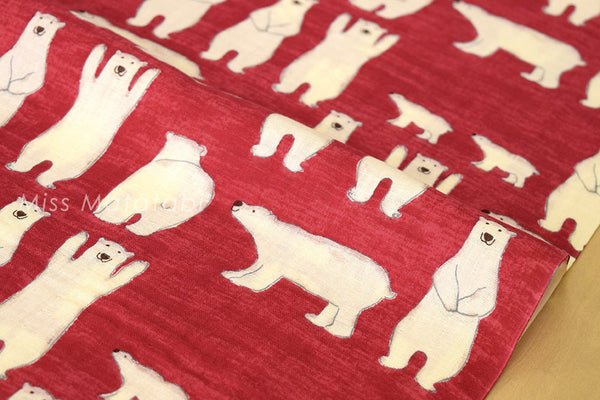 Kobayashi Polar bears double gauze - red