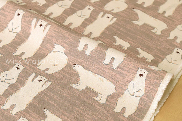 Japanese Fabric - polar bears canvas - taupe - fat quarter