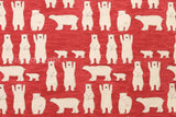 Japanese Fabric - polar bears canvas - red - fat quarter