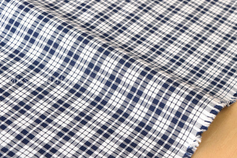 Japanese Fabric - yarn dyed gingham check - navy blue