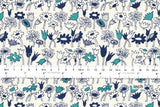 Japanese Fabric - meadow canvas - blue, teal