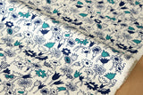 Japanese Fabric - meadow canvas - blue, teal - fat quarter