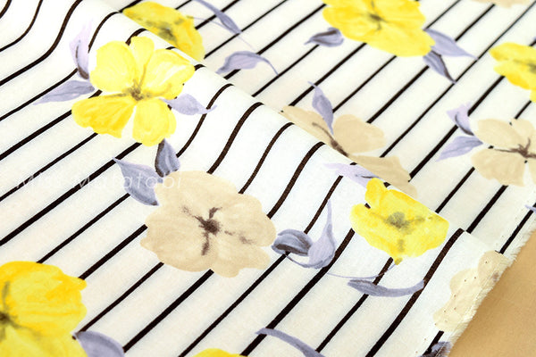 Single gauze - floral stripes - A