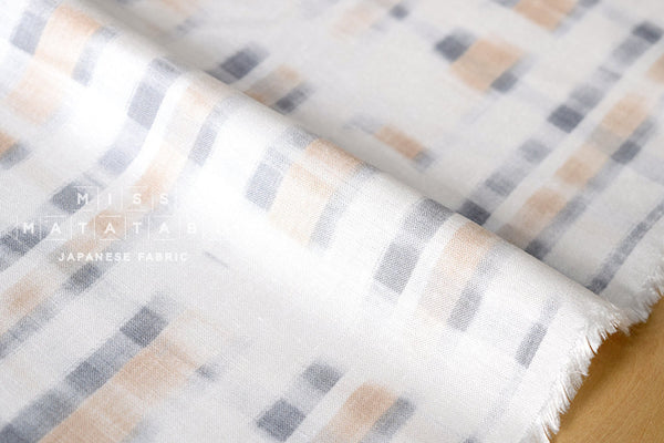 Rayon linen blend - abstract plaid - A