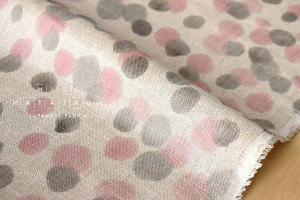 Snow dots linen double gauze - pink