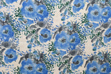 Watercolour floral linen double gauze - blue