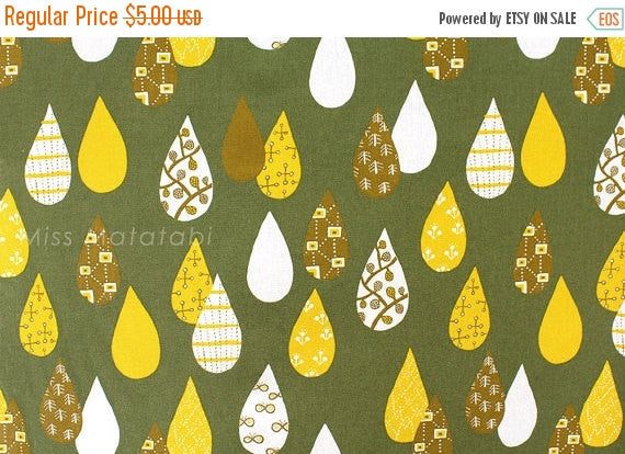 Japanese Fabric - Drops canvas - green