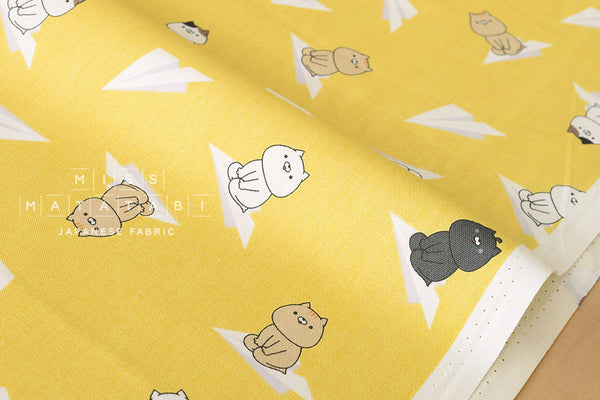 Sonoda-kun cat paper planes - yellow - fat quarter