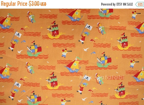 Japanese Fabric Yuwa Kikorakko Monkeys and Pirates - orange - fat quarter