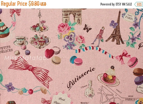 Japanese Fabric Yuwa - Paris Sweets - pink - canvas