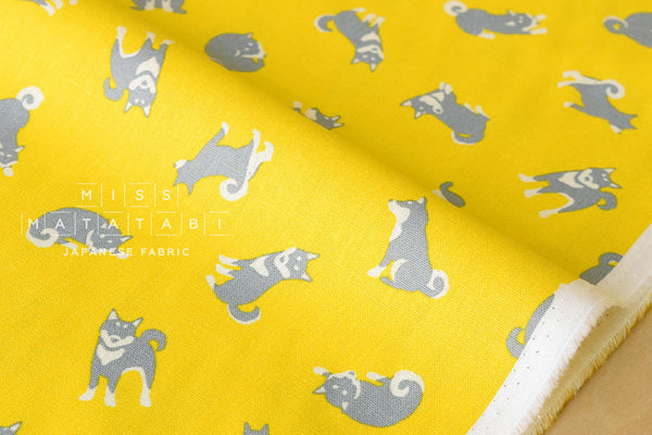 Japanese Fabric - shiba inu canvas - yellow, grey - fat quarter