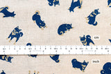 Japanese Fabric - shiba inu canvas - blue - fat quarter