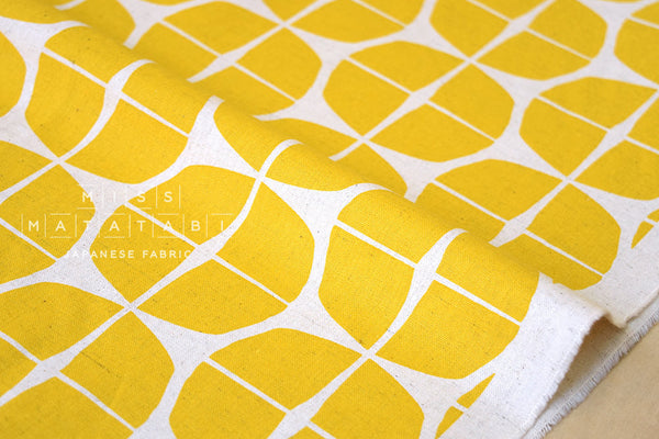RESERVED - Japanese Fabric - Stamp canvas - mustard yellow, natural