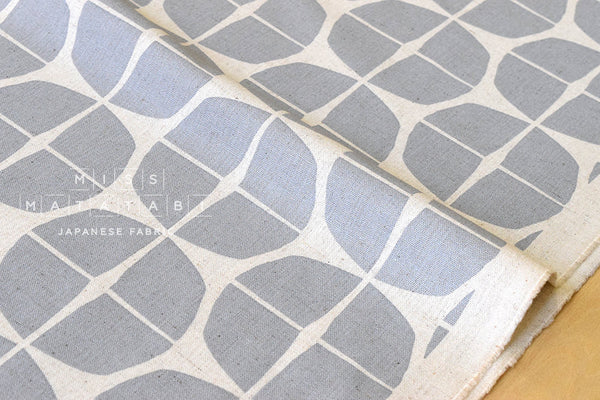 Japanese Fabric - Stamp canvas - grey, natural - fat quarter