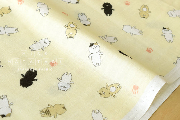 Japanese Fabric - floating Sonoda cat double gauze - pale yellow