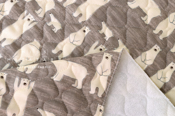 Quilted double gauze - polar bears - taupe
