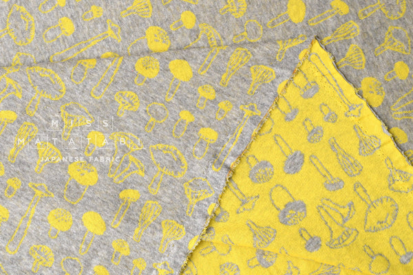 Reversible double knit - mushrooms - yellow, grey