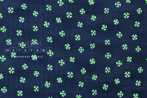 Kokka Ellen Baker - Rough Cut double gauze - whirlgig - navy, neon green