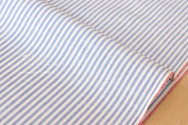 Yarn dyed selvedge cotton stripes - light blue