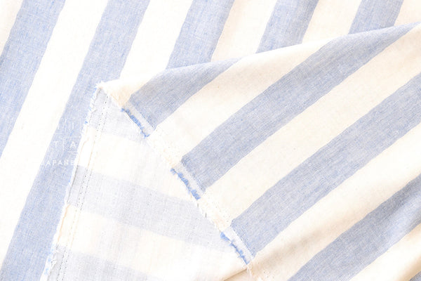 Double gauze - woven large stripes - navy blue