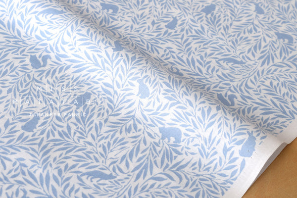 Flora and Fauna 2 - cotton lawn - light blue