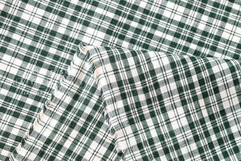 100% linen plaid - forest green
