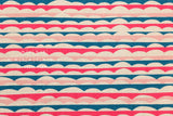 Waves canvas - pink, teal - fat quarter