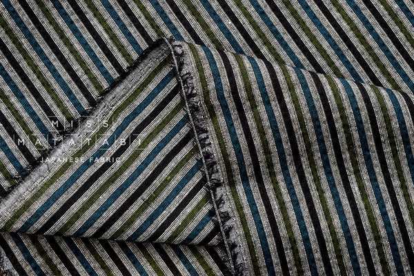 Japanese Fabric - yarn dyed Shijira cotton stripes - green, teal, black