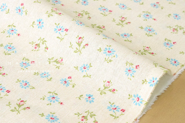 Yuwa Daisy and Rose - blue, red, green on cream