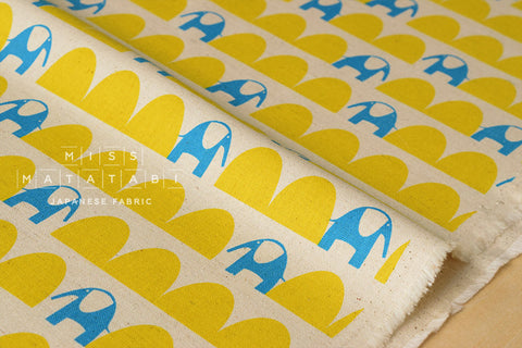 Kokka Ellen Baker - parallels - elephant - blue, yellow - fat quarter