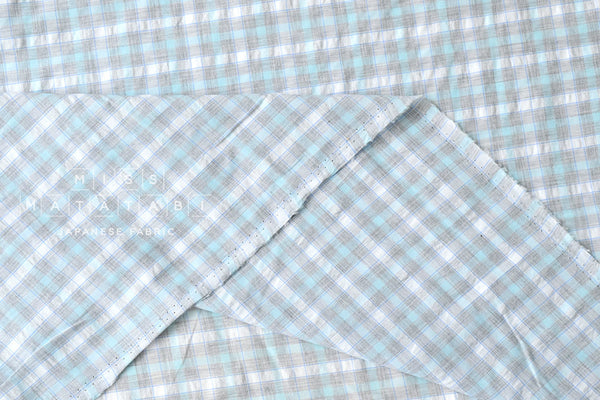 Yarn dyed textured small plaid - blue, grey, white