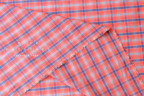 Yarn dyed small plaid - red, blue