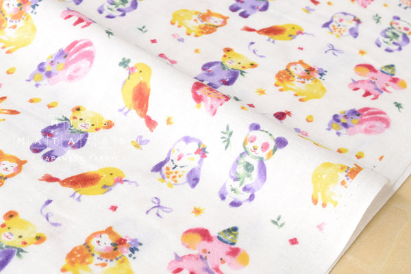 Kokka Trefle kawaii animal party double gauze - white