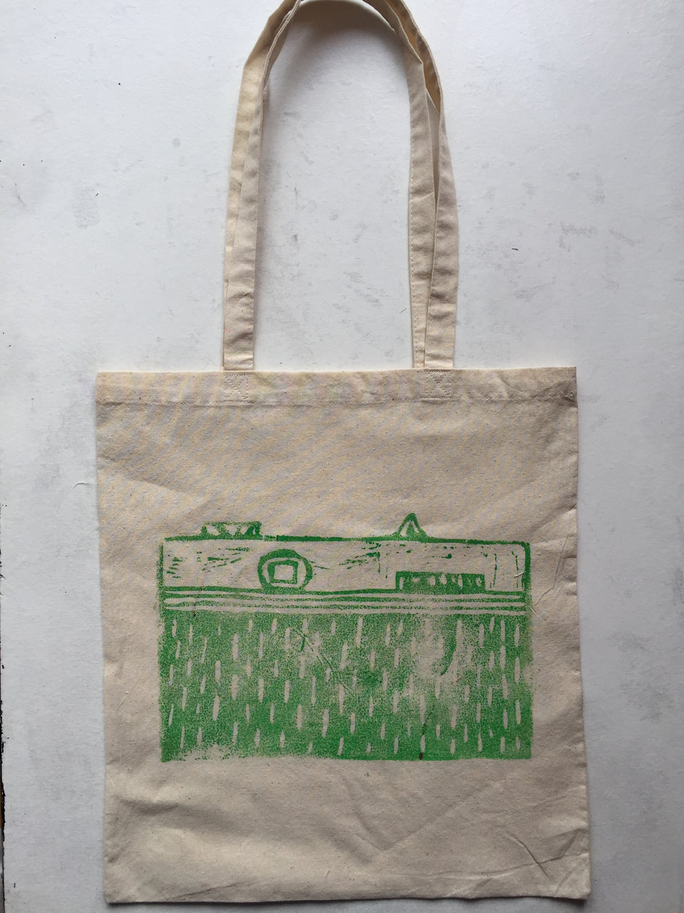 Made To Order - Camera No.2 - DOUBLE SIDED - Large Hand Printed Linocut Tote Bag