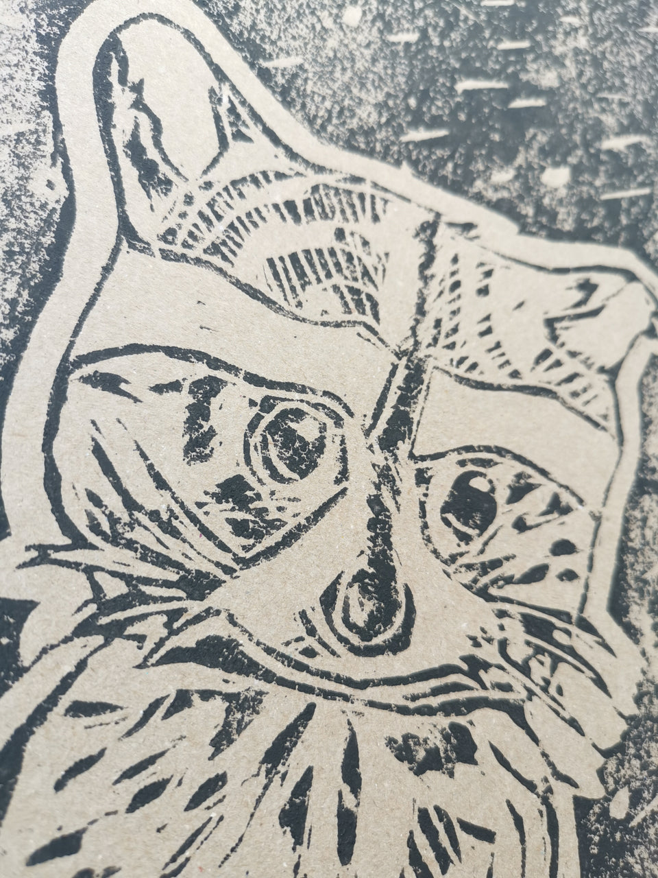 Made To Order - Kanjuro The Raccon - Hand Printed UNMOUNTED A4 Linocut Print