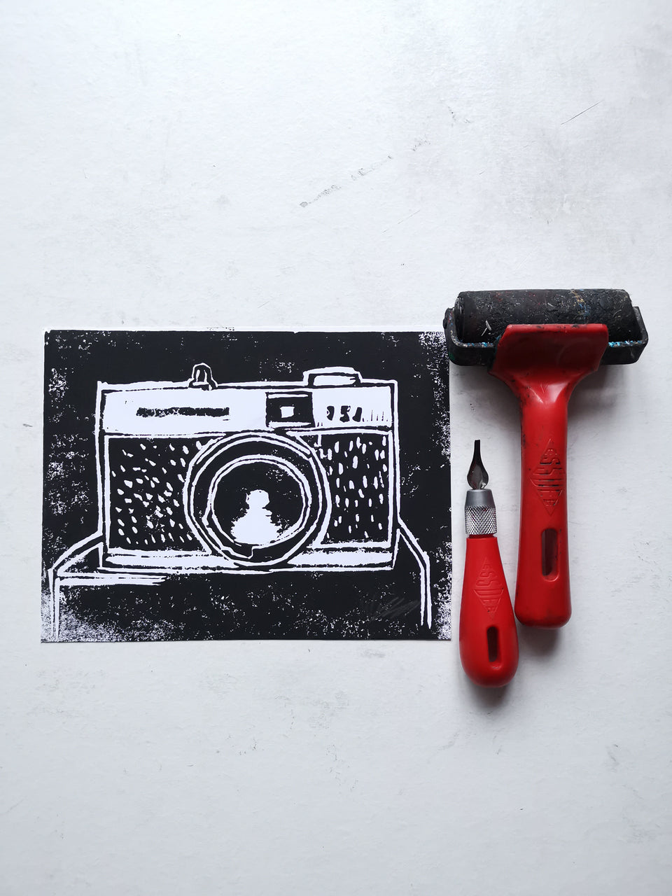 Made To Order - Camera No.2- Hand Printed UNMOUNTED A5 Linocut Print