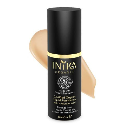 INIKA Certified Organic Liquid Foundation with Hyaluronic Acid (Honey)