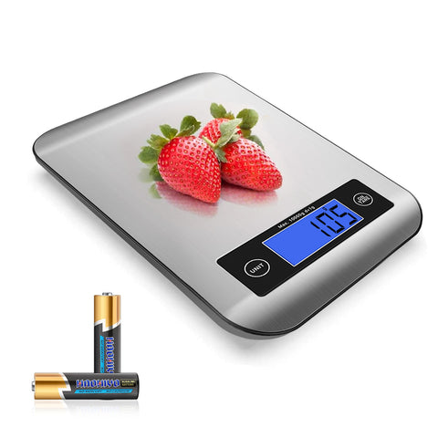 Food Scale, 22lb Digital Kitchen Stainless Steel Scale Weight Grams and oz for Cooking Baking - Precise Graduation with Backlit LCD Display - Battery Included
