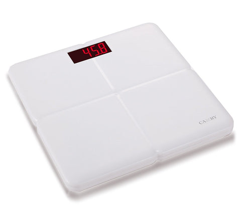 Camry Body Scale Super Comfort Plastic ABS Bathroom Scale Extra Large 3.3'' LED Display with Step on Technology, White