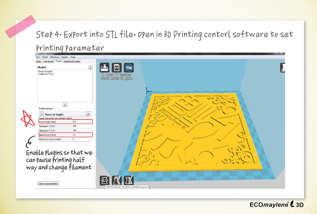 6 steps to print 3D spring couplet - step 4