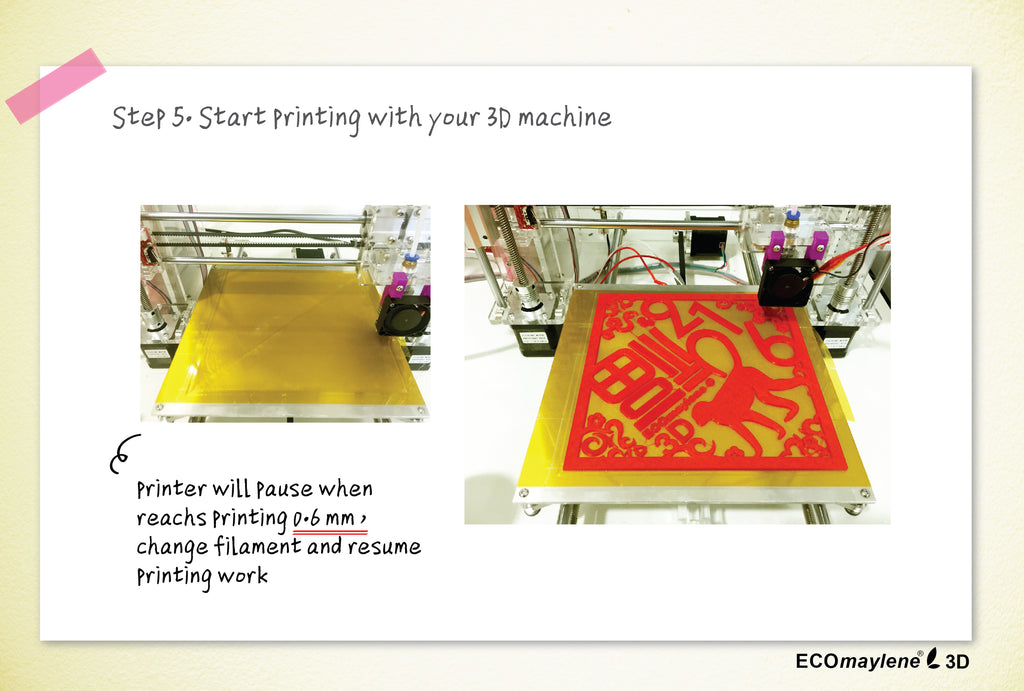 6 steps to print 3D spring couplet - step 5