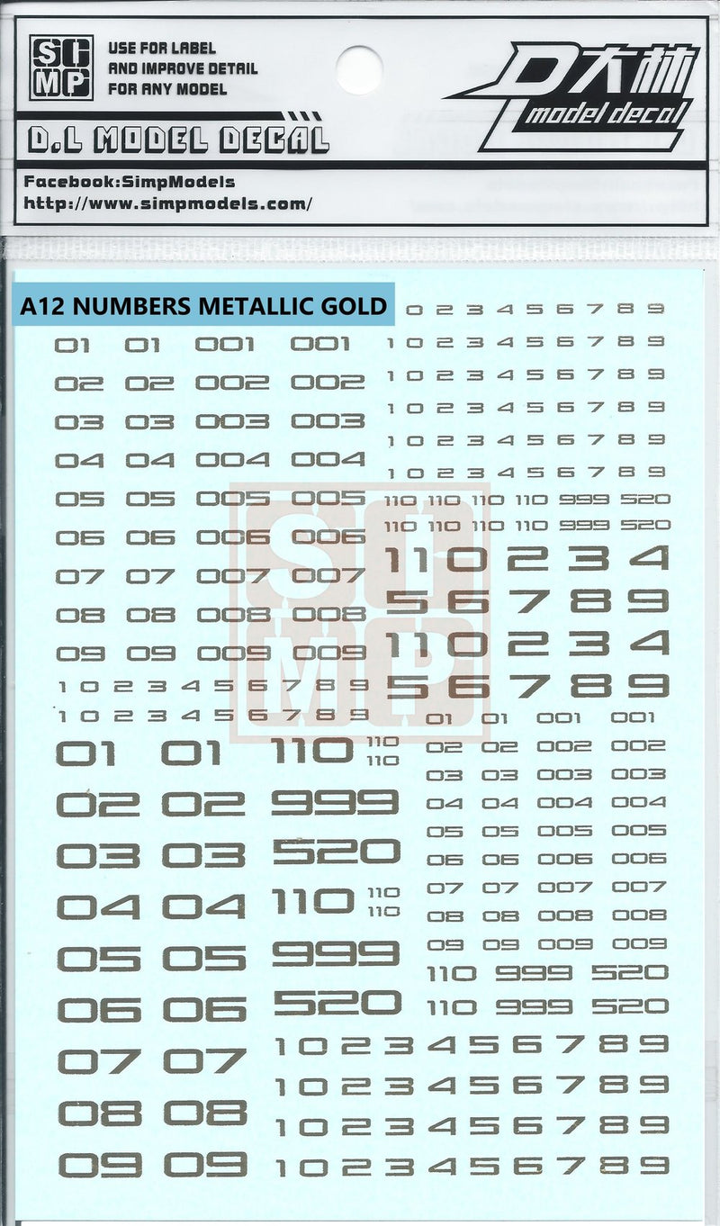 SIMPro Water Decals: A12 Numbers Metallic Gold