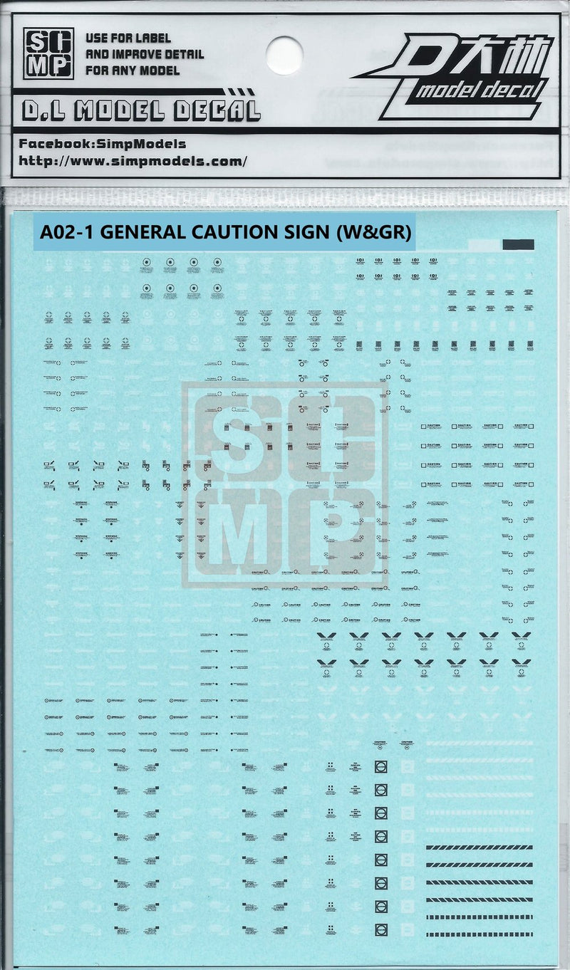 SIMPro Water Decals: A02-1 General caution sign (White & Grey)
