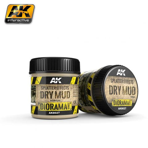 AK-Interactive: (Texture) SPLATTER EFFECTS DRY MUD - 100ml (Acrylic)