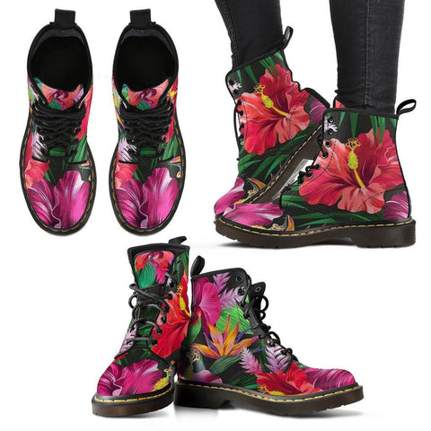 Premium Celebrity Exotic Flower Designer Women's Real Eco-Leather Boots